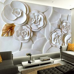 Wholesale Black White 3d Wallpaper - Wholesale-Custom 3D Stereoscopic Embossed White Roses Mural Wallpaper Living Room Sofa Background Photo Wall Paper Papel De Parede 3D
