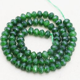 Wholesale Faceted Gems - New 4x6mm Accessories Crafts Green Jade Stone Loose Beads Jewelry Making Design Abacus Faceted Gem Jasper Women Girls Gifts