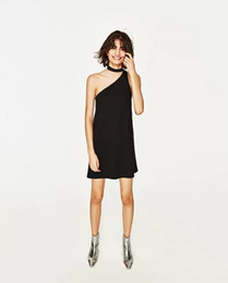 Wholesale Mini Station - European station 2017 spring and summer new women's fashion temperament sexy hanging neck single leakage shoulder dress XN8203