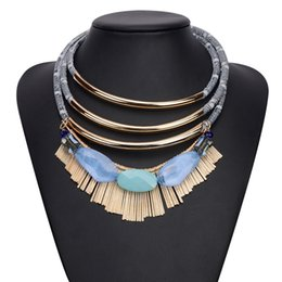 Wholesale Encrusted Necklace - European and American Fashion Jewelry Necklace Multilayer Collar Alloy Chain Tassel Jewel-Encrusted Clavicle Pendant Necklaces