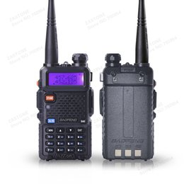 Wholesale Wholesale Dual Band Transceivers - 5PCS BaoFeng UV-5R walkie taklie transceiver 5W VHF UHF Dual Band 136-174 400-520 MHz two way radio walkie talkie
