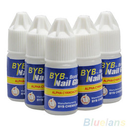 Wholesale Nails Acrylic Adhesive - Wholesale- Pro 5 Pcs BYB 3G Nail Glue Glitters DIY Nail Art Deco Acrylic Tips Adhesive Tool 6ZIG 7GR4