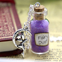 Wholesale Wholesale Angels - 12pcs Fairy Dust and a Fairy Charm glass Bottle Necklace with a moon angel Charm Once Upon a Time Inspired necklace