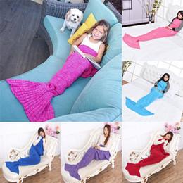 Wholesale Crochet Babies Clothing - Baby crochet mermaid tail blankets handmade blankets mermaid sleeping bag knit Sofa Blankets 90*50cm C1730