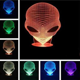 Wholesale Glow Desk - 3D Alien Glowing LED Touch Desk Night Light 7 Colors Changing Bedroom Lamp Decor for Kid gift toys