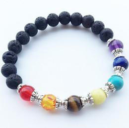 Wholesale Healing Bracelets For Women - New Natural Black Lava Stone Bracelets 7 Reiki Chakra Healing Balance Beads Bracelet for Men Women Stretch Yoga Jewelry Free Shipping