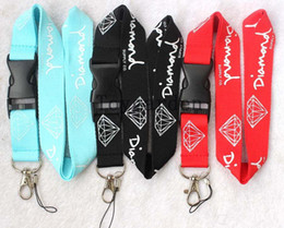 Wholesale Ids Clothing - Free shipping, 10pcs Clothing Diamond Sport Lanyard ID Badge ID Running Cell Holder Detachable Keychain Camera Black   Blue + Red Can Pick