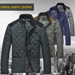 Wholesale Mens Down Padded - Wholesale- Lesmart Mens Winter Autumn Spring Cotton Padded Coat Warm Quilted Jacket Lightweigh Windproof Patchwork Plus Big-tall Parka