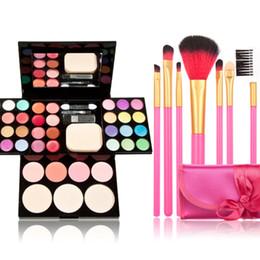 Wholesale Women Make Up Gift Set - Wholesale-High Techniques Make Up Kit Makeup Kits Gift Set Palette+17PCS Brushes Cosmetics Women Makeup Set