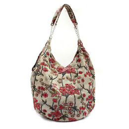 Wholesale Dark Brown Hobo Handbags - Wholesale-Women fashion Beaded shoulder handbag 2015 flower Evening Bags Retro chain Handbag  clutches free shipping2509