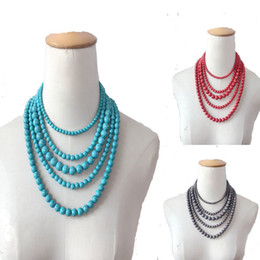 Wholesale Green Stone Prices - 5 Layers Druzy Necklaces Natural Stone Turquoise jewelry Beaded Choker Statement Necklaces Bulk Price