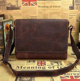 Wholesale Nice Phone Covers - Wholesale- Men's Vintage crazy horse leather messenger bag genuine leather laptop shoulder bag Nice genuine leather school bag, fast post