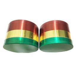 Wholesale House Filters - 4layer 52mm Grinders house Metal herb cnc teeth filter herbal grinder Assorted Colors(Rasta) dry herb vaporizer