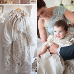Wholesale navy blue baby bow - Cheap Little Christening Gowns For Baby Girls Beads Appliqued Overskirts Baptism Dresses With Bonnet Lace First Communication Dress