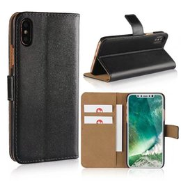 Wholesale Light For Books - For iphone X Wallet Case,New Book Style Stand Genuine Leather Cases Card Flip Cover For Apple iphone 8 PLus Cases