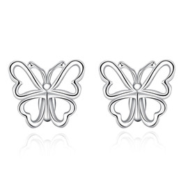 Wholesale Hollow Butterfly Charms - New Style Fashion Earrings 925 Sterling Silver Stud Earrings Hollow-out Light Butterfly Bow Stud Earrings Cute Gift for Girl