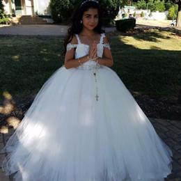 bfb321132fe White Lace Ball Gown Flower Girl Dresses For Wedding 2017 Spaghetti Straps  Tulle Beaded Sash First communion dresses for girls Party Dresses