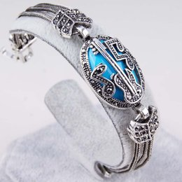 Wholesale Silver Blue Guitar - Music Note Guitar Design Bracelets Women Red Blue Enamel Resin Bangles Jewelry