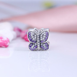 Wholesale Charming Sparkles Jewelry - Authentic 925 Silver Beads Sparkling Butterfly Charms, Purple CZ Fits European Style Jewelry Bracelets