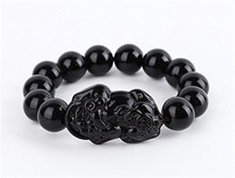 Wholesale Pi Xiu Bracelet - Obsidian Beads Stone Bracelet& Bangle With Carved Pi Xiu   Pi Yao Attract Wealth and Good Luck Round Beads Strand Bracelets Jewelry