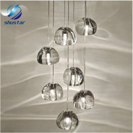Wholesale Glass Ball Pendant Lamp - Modern clear crystal glass sphere ball chandelier mizu 3 5 7 15 26 head pendant lamp ceiling lamp round stainless steel base