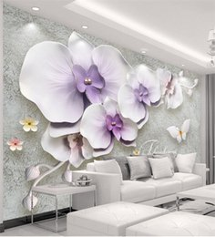 Wholesale Chinese Silk Wall Painting - Wall Panel Wallpaper Marble Diamond Jewelry Magnolia Background Modern Europe Art Mural for Living Room Large Painting Home Decor