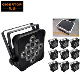 Wholesale Wholesale Power Wheels - TIPTOP Good Stage Effect Light 9*12W 4in1 DMX Slim Led Par Light RGBW Tyanshine Fan Cooling Power IN OUT 10IN1 Flightcase Pack with wheels