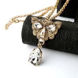 Wholesale Leopard Head Sweater - Long Sweater Chain Crystal Waterdrop Cool Leopard Head Pendant Women Vintage Jewelry Necklace Statement