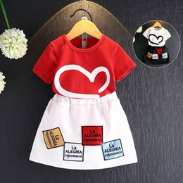 Wholesale Mini Skirt Shirt Sets - New 2017 Fashion Summer Girls letter short sleeve T shirt tops Mini skirt 2pcs set baby Dress Suits Children Outfit Toddler Clothes A401