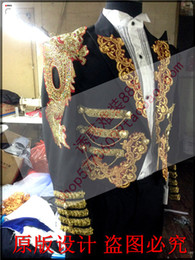 Wholesale Marry Dress Suits For Men - Wholesale- 2015 man suit blazer Magic royal laciness tuxedo male married formal dress for singer dancer star performance show in stage bar