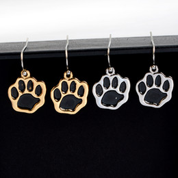 Wholesale Cute Accessories For Women - Silver Gold Plated Black Dog Paw Earrings Cute Animal Baby Jewelry Brincos Dangle Earrings For Women Wholesale Accessories