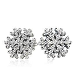 Wholesale Diy Silver Pandora Charm Earrings - TopeasyJewelry 925-Sterling-Silver Pandora Clear Crystal Snowflake Stud Earrings Vintage CZ Flower Earrings For Women Fit Fine Jewelry Diy