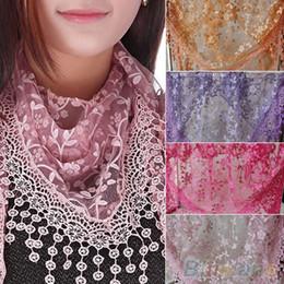 Wholesale Triangle Tassel Shawls - New Brand design Summer Lady Lace Scarf Tassel Sheer Metallic Women Triangle Bandage Floral scarves Shawl