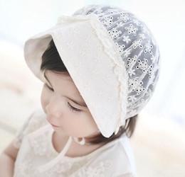 Wholesale Wholesale Kids Sun Bonnet - Summer Sun Hats Toddlers Baby Girls Lace Hollow Cap Soft Bonnet Kids Flower Beanie Lace Floral Cap