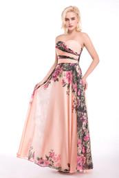 Vestidos de dama de honra impresso barato on-line-Vestidos de dama de honra Longo Barato 2017 Floral Impresso Vestido De Casamento Sem Alças Real Foto Flores Damas De Honra Vestido de Festa 2017