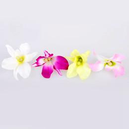 Le teste di orchide all'ingrosso online-Fiori artificiali all'ingrosso fiori di stoffa di seta orchidea teste 5 colori per la decorazione della casa della festa nuziale fai da te