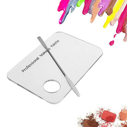 Wholesale Nail Palette Clear - New Palette Clear Acrylic Nail Art Makeup Polish Gel Foundation Eyeshadow Mixing Spatula Stainless Steel Rod Manicure Set Tool ZA2330
