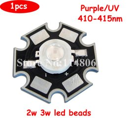 Wholesale Ultraviolet 3w - Wholesale- Free Shipping 1pcs 2W 3W 45mil Chip UV Ultraviolet 410~415nm LED Light Lamp Part With 20mm Star Base