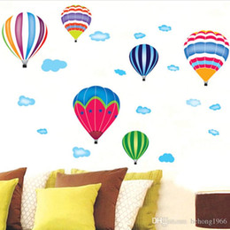 decoracion de decoracion Rebajas Wall Sticker 3D Nubes de sonrisa de globo de aire caliente para el cuarto de niños Nursery School Decorativo desprendible Decal Decoración 3 1lm F R