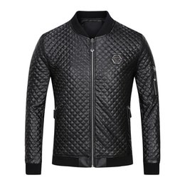 Wholesale Sewing Letters - 2017 New Autumn Hot Skull & Horse Printed Genuine Leather Men's coat Fashion Long-Sleeved winter Clothing Brand PP Mens jacket