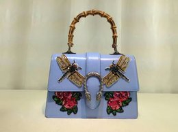 Wholesale Dragonfly Bags - 2017 new fashion original quality women 100% genuine leather with Dragonfly rose rhinestone chain handbag, female shoulder bag blue colour