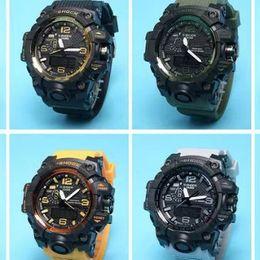 Wholesale Digital Rubber Strap Watches - 2017 New Shock Digital LED Men Quartz Sports Watch Strap Rubber Army Military Quartz-watch Clock GWG 100 Waterproof Wrist Men's Relogio Masc