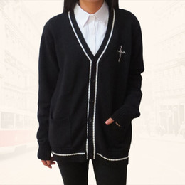 Wholesale japanese wool long sweater - Wholesale- Japanese JK Knit Cardigan clothes Long sleeve V-Neck Sweater Cross embroidery Secondary color Black & White