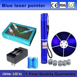 Wholesale Burning Laser Blue High Powered - Astronomy High Power 450nm Blue Laser Pointer Pen Burning laser Lazer Flashlight Visible Beam + Battery Charger + BOX Free Shipping