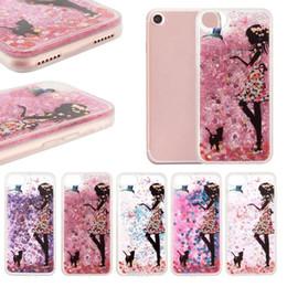 2019 casos de niña de las flores Flower Dress Girl Cat Feed Bird Glitter Quicksand Liquid Phone Back Case con TPU Soft Side para Iphone 6 6s más 7 7Plus Paquete OPP casos de niña de las flores baratos