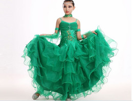 Wholesale Ballroom Dance Costumes For Kids - modern dance costumes for kids ballroom dancing girls ballroom standard dance dress for girls ballroom dance competition dress