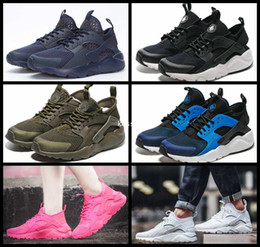 Wholesale 36 V - 2017 Air Huarache 4 V Running Shoes For Men Women,Woman Mens Army Green Red Huaraches Man Sport Huraches Sneakers Athletic Trainers 36-45