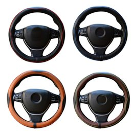 Wholesale New Leather Steering Wheel Cover - New Genuine Leather Car Steering Wheel Cover Luxury Breathable Antiskid Steering-wheel Cover fashion Embossed Four Seasons Universal #131