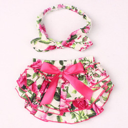 Wholesale Cute Girls Diapers - 2017 NEW ARRIVAL baby girl kids toddler 2piece set cotton rose floral bloomers shorts short pants tutu diaper covers + bowknot headband Cute