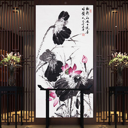 Wholesale Natural Wall Paint - photo wallpaper wall murals wall modern Living room natural scenery Hand-painted Lotus textile wallpapers free shipping